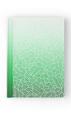 """Ombre green and white swirls doodles"" Hardover Journal by @savousepate on…"