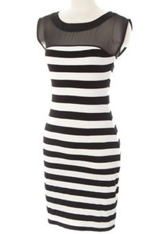 Black White Striped Contrast Black Chiffon Bodycon Dress