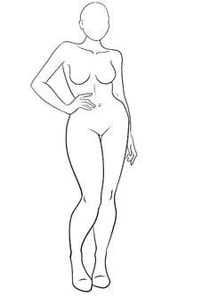 Fashion drawing outline -bigger women.