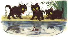 """""""Three kittens"""" V. Russian Cat, Story Sequencing, Children's Book Illustration, Cat Illustrations, Childrens Books, Rooster, Literature, Kittens, Moose Art"""