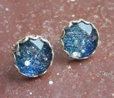 Ocean Depths Glitter Nail Polish Silver Plated Stud Earrings