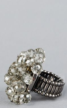 ZR0027 Beaded Baubles Stretch Ring GRAY