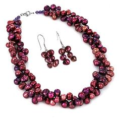 Womens Sterling Silver Purple Fresh Water Pearl Beaded Necklace and Earring Set -- Visit the image link more details.(This is an Amazon affiliate link and I receive a commission for the sales)