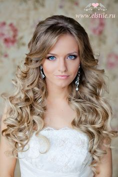 Wedding Hair Long wavy curls with slight fringe