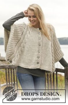 Knitted DROPS poncho with cables and textured pattern in Nepal and Kid-Silk. Free knitting pattern by DROPS Design. Loom Knitting, Knitting Patterns Free, Knit Patterns, Free Knitting, Free Pattern, Knitted Poncho, Crochet Shawl, Knit Crochet, Drops Design