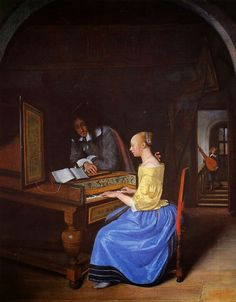 Young Woman Playing Harpsichord to a Young Man (1659) by Jan Steen (Dutch,1626-1679) ~ Baroque ~ National Gallery, London ~ Jan Havickszoon Steen was a Dutch genre painter of the 17th century. His works are known for their psychological insight, sense of humor and abundance of color. It is different from the crowded scenes of many of Steen's other works, but is reminiscent of the style of fellow Dutch painters Pieter de Hooch and Jan Vermeer.