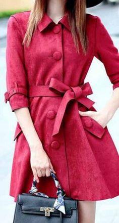 Cute Bow! Faux Suede Turn Down Collar Half Sleeve Trench Coat #Red #Faux #Suede #Trench #Coat