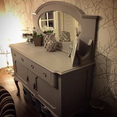 Farrow and ball painted sideboard in charleston gray in our dining room. Farrow And Ball Paint, Farrow Ball, Painted Sideboard, Painted Furniture, Charleston Grey Farrow And Ball, Cottages In Wales, Kitchen Family Rooms, Double Vanity, Cupboard