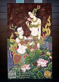 Kerala Mural Painting, Thai Pattern, Thailand Art, Indian Folk Art, Thai Art, Krishna Art, Pictures To Draw, Ancient Art, Fabric Painting