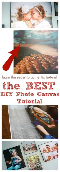 DIY Photo Canvas Tutorial (using photo prints and mod podge) to get texture of canvas