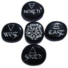 wicca element direction # Engraved - Pocket Altar to Go - 5 pc stone set in Obsidian with Silver Wicca Witchcraft, Magick, Ideas Dremel, Les Runes, Celtic, Pagan Altar, Obsidian Stone, Wiccan Crafts, Wiccan Decor