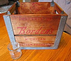 Awesome vintage Borden's dairy crate and Borden's cream jar SOLD at More Than McCoy on TIAS