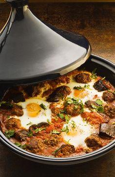Moroccan lamb tajine with fried eggs