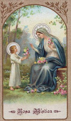 the Sacred Heart of Jesus through the Immaculate Heart of Mary. Religious Images, Religious Icons, Religious Art, Blessed Mother Mary, Blessed Virgin Mary, Catholic Pictures, Vintage Holy Cards, Catholic Art, Catholic Prayers