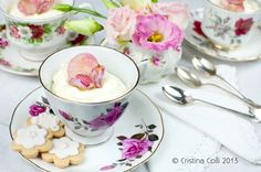 White chocolate mousse with crystallised rose petals in vintage teacup - styling & photography Cristina Colli, featured on Vintage Life magazine -