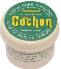 LA POMMADE COCHON soigne les cors, durillons, verrues et oeils de perdrix de vos pieds avec efficacité.