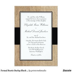 Formal Rustic Burlap Black Wedding Invitations