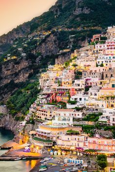 Positano, Italy - June 2013 Colorful palette throughout this joyful town  - panoramic views of Amalfi Coast