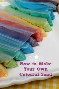 to Make Your Own Colorful Sand make your own sand - using salt and food coloring. Good idea for a lot of things!make your own sand - using salt and food coloring. Good idea for a lot of things! Projects For Kids, Diy For Kids, Craft Projects, Sand Projects, Sand Art For Kids, Beach Crafts For Kids, Burlap Projects, Burlap Crafts, Fun Crafts