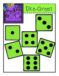 Free Dice Clipart! Bright colors and white!