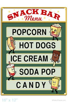 Snack Bar Menu Popcorn Hot Dogs Home Theater Sign - Retro Planet At Home Movie Theater, Drive In Theater, Movie Theater Party, Cream Soda, Snack Bar, Man Cave Garage, 1950 Diner, Vintage Diner, Vintage Picnic