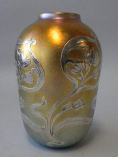 1905 Quezal silver overlay glass vase.