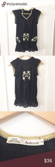Black Embroidered Blouse Preloved, but in Great Condition/ Feel free to ask any questions or make a reasonable offer/ Add to a bundle for 15% off 2 or more items 😊 Top is see through Tops Blouses