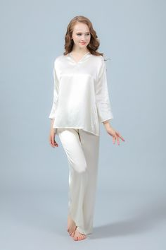 dec5eb757d Freedomsilk 22 Momme Ivory V Necked Silk Pajama Set - Style  Two-piece silk  short pajamas set. Neckline  V-neck. Material  silk of 22 Momme silk weight.