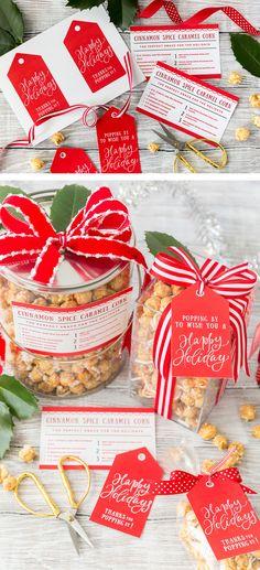 Free printable holiday gift tags and popcorn treat idea!