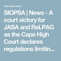 SIOPSA | News - A court victory for JASA and ReLPAG as the Cape High Court declares regulations limiting psychologists invalid.