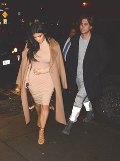 Pin for Later: Kim Kardashian Says She Wore a $19 Dress For Date Night With Kanye Kim Kardashian's $19 Dress Kim claims this beige-colored body-con cost her a mere $19 online!