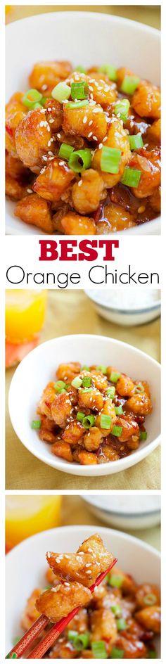 Chinese Orange Chicken - BEST & EASIEST recipe ever! Crispy goodness in an amazeballs sweet tangy orange sauce, get the recipe now | rasamalaysia.com