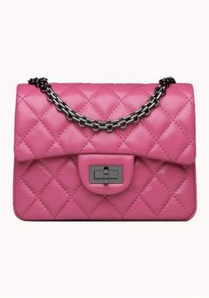 Milley Flap Mini Bag Lambskin Leather Hot Pink