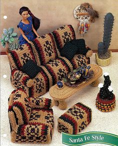 Santa Fe Style Living Room Barbie Furniture Pattern Annies Fashion Doll Crochet Club FCC07-01
