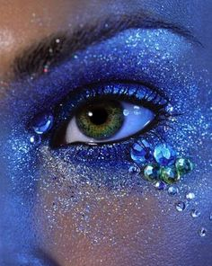 sparkly gemstone encrusted eyeshadow look - I have had this magazine page saved since the early 2000's