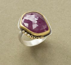 Pink Sapphire Ring with Chocolate Diamonds by Ananda Khalsa  $1,565.00
