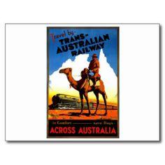 Antique Australia Railway Travel Poster Postcards