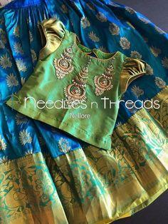 Needles n Threads, Nish*tha celebrations,Kings court avenue, Nellore Kids Dress Wear, Dresses Kids Girl, Kids Outfits, Children Dress, Baby Dresses, Girls, Kids Blouse Designs, Bridal Blouse Designs, Kids Frocks Design