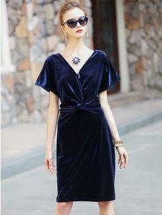 Sexy Dark Blue Plain Plunging Neck Tie Waist Back Slit Bodycon Evening Midi Dress