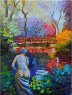 Red Bridge Statue, Magnolia Plantation , 12x16, oil on linen, paintings of statues, Charleston, South Carolina, red bridge, Magnolia Plantation, painting by artist Maryanne Jacobsen