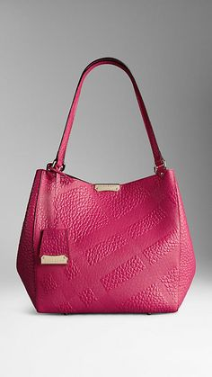 bdbeb84b7df Burberry The Small Canter Handbag in Embossed Check Leather, Vibrant  fuchsia Burberry Tote, Pocket