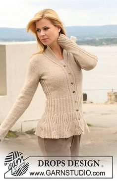 """Ravelry: 123-1 Knitted jacket with rib-pattern in """"Alpaca"""" pattern by DROPS design FREE PATTERN"""