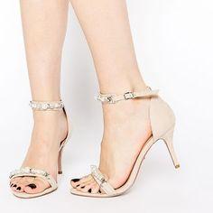 Carvela Gel Nude Embellished Mid Heel Sandals at asos.com