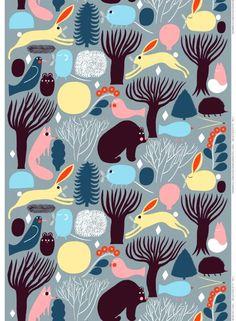 Huhuli-ekopuuvilla (harmaa, sininen, v.keltainen) | Kankaat, Puuvillakankaat | Marimekko