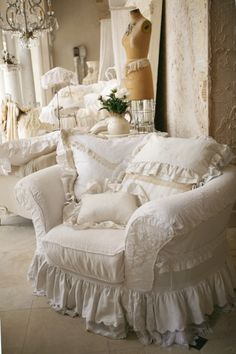 Shabby chic slipcovers we make, love vintage whites.
