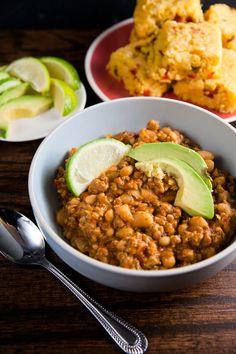 Turkey and White Bean Chili - both the chili and spicy cornbread include pureed veggies.