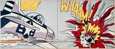 Whaam! Roy Lichtenstein, 1963, diptych, Tate. 'Whaam!' is based on an image from 'All American Men of War' published by DC comics in 1962.