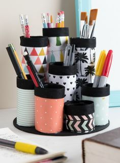 Organizing Hacks: 3 Recycled DIY Organizers with Mod Podge, including how to craft this makeup organizer (or office organizer/craft supplies holder!)