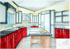 Hand Drawn Perspective Rendering | kitchen rendering 11x14 marker 2011 spring hand rendering of various ...
