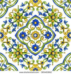 Watercolor background tile with floral ornament with Arabic motifs, majolica Painting Ceramic Tiles, Marble Painting, Background Tile, Watercolor Background, Pictures To Paint, Painting Pictures, Pretty Backgrounds, Blue Tiles, Mandala Drawing